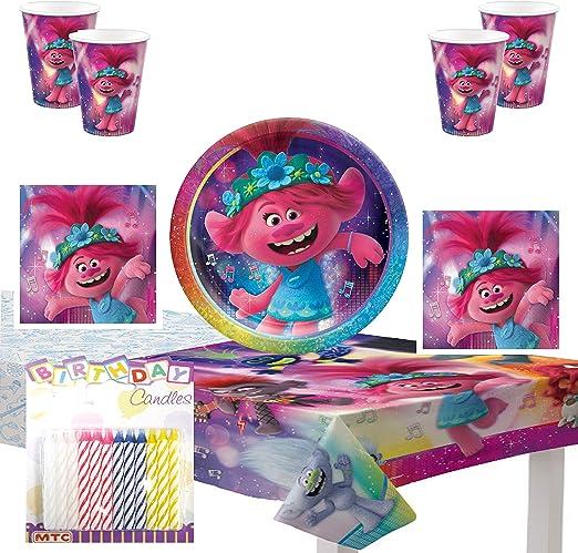 Procos d/écoration de Table gobelets Serviettes Assiettes f/ête /à th/ème. Kit de f/ête pour Enfants DreamWorks Trolls 2 Barbecue Anniversaire denfant World Tour
