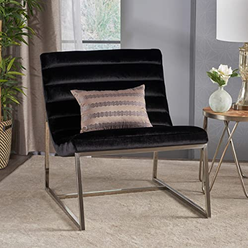 Felicia Parisian Modern Black Velvet Sofa Chair