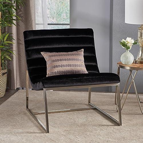 Best living room chair: Felicia Parisian Modern Black Velvet Sofa Chair