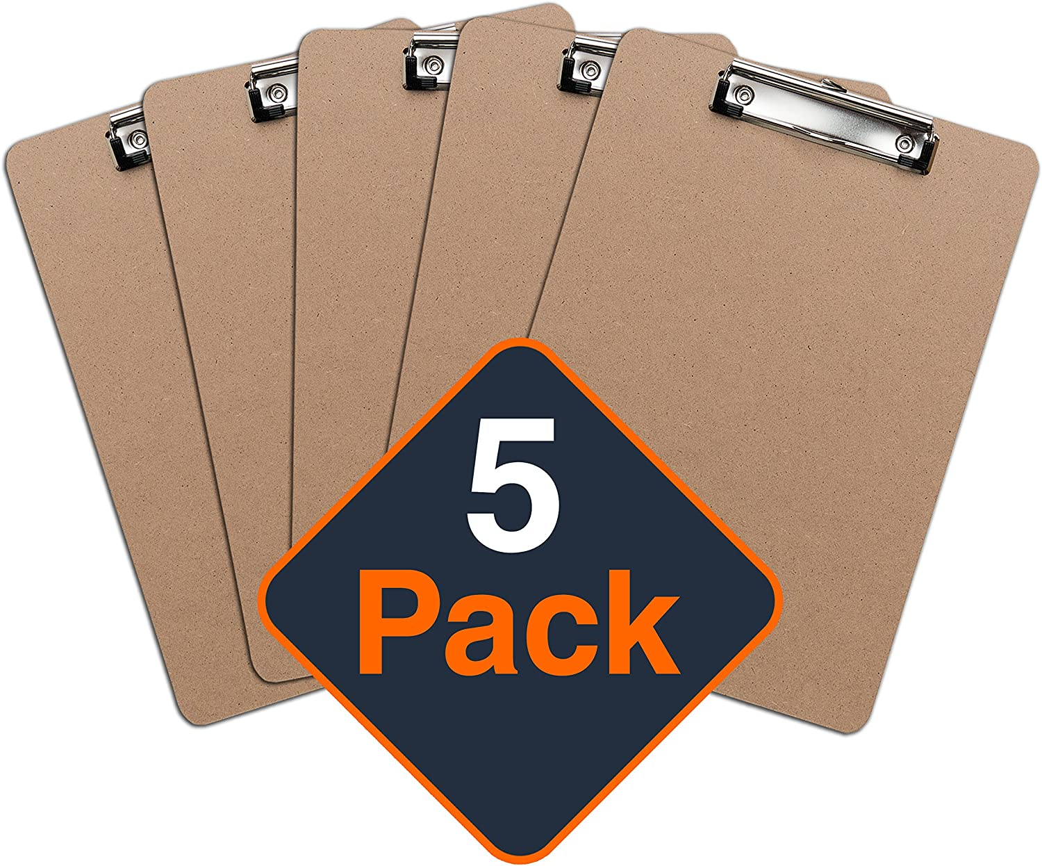 Clipboards (Set of 5) by Office Solutions Direct! ECO Friendly Hardboard Clipboard, Low Profile Clip Standard A4 Letter Size
