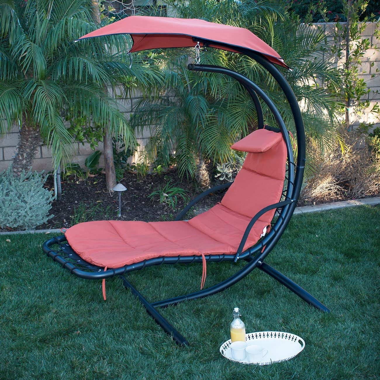 Amazon Com Belleze Hanging Chaise Lounger Chair Arc Stand Air Porch Swing Hammock Chair Canopy Orange Kitchen Dining