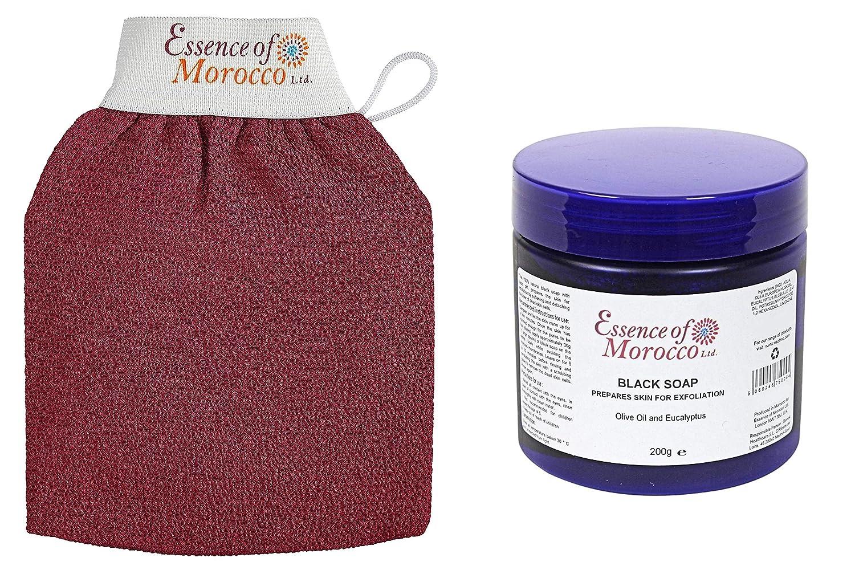Guanto kessa esfoliante tradizionale marocchino e Sapone Beldi Esfoliante con Eucalyptus (200 g / 7 OZ). Pack Hammam Essence of Morocco Ltd.