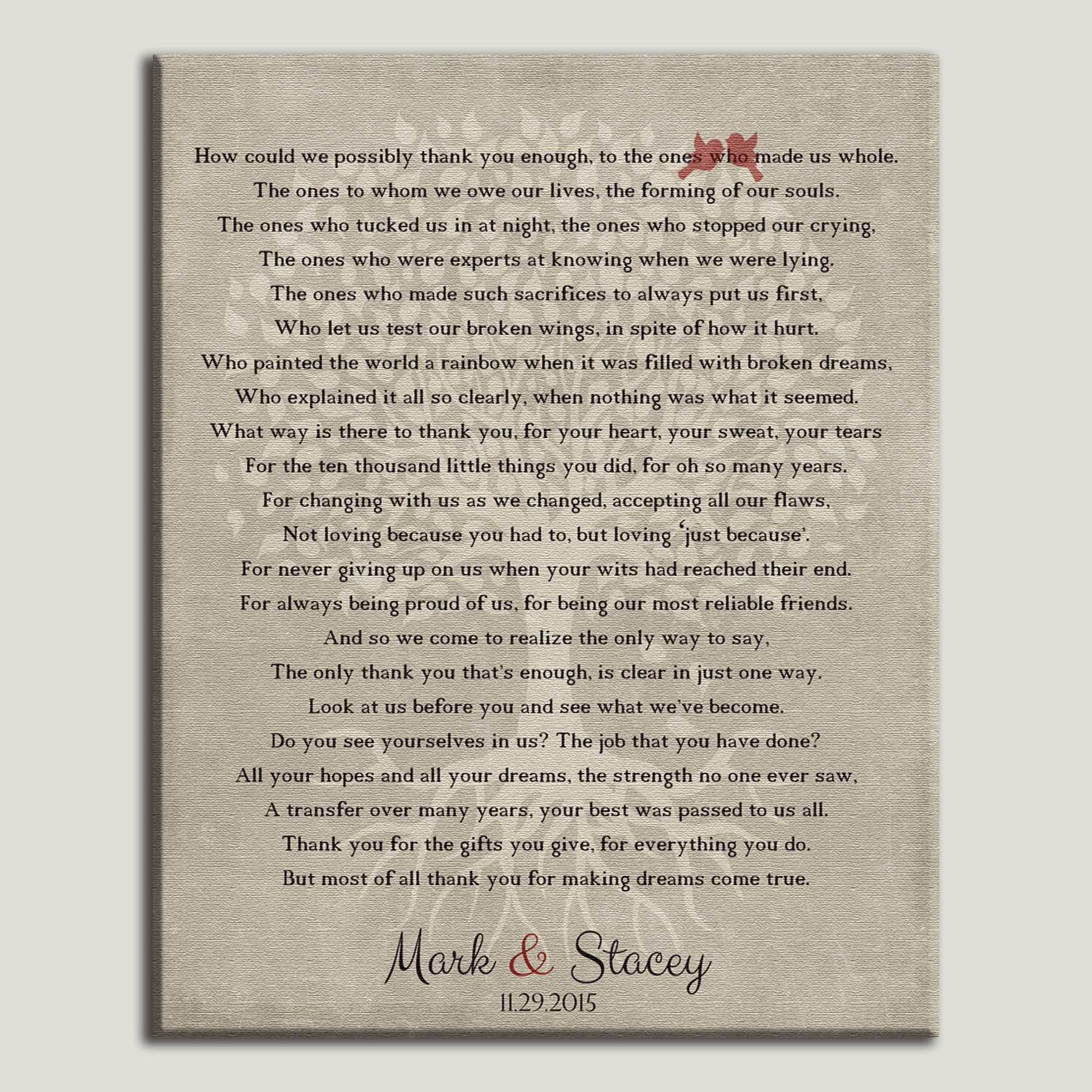 16x20 Mounted Canvas Personalized Gift For Parents How Could We Possibly Thank You Enough Tree Roots Love Birds Gift For Mother of Groom Bride Family Wedding Poem Mom and Dad Custom Art Print by Lucky Tusk Co.