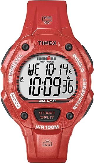 Timex T5K686SU - Reloj digital de cuarzo para hombre con correa de resina, color rojo: Timex: Amazon.es: Relojes