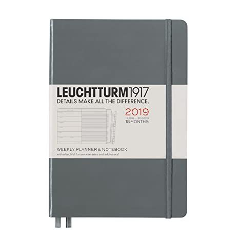 Leuchtturm1917 357844 A5 Medium 18 Months Weekly Planner and Notebook - Anthracite
