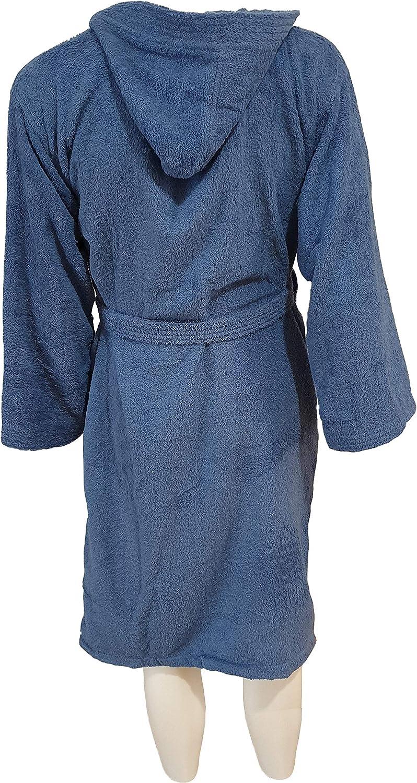 Blue, Uomo//Donna Taglia S KISENE Accappatoio in Morbidissima Spugna di Puro Cotone per Uomo Donna Bambini Tinta Unita Ideale per Uso Sportivo