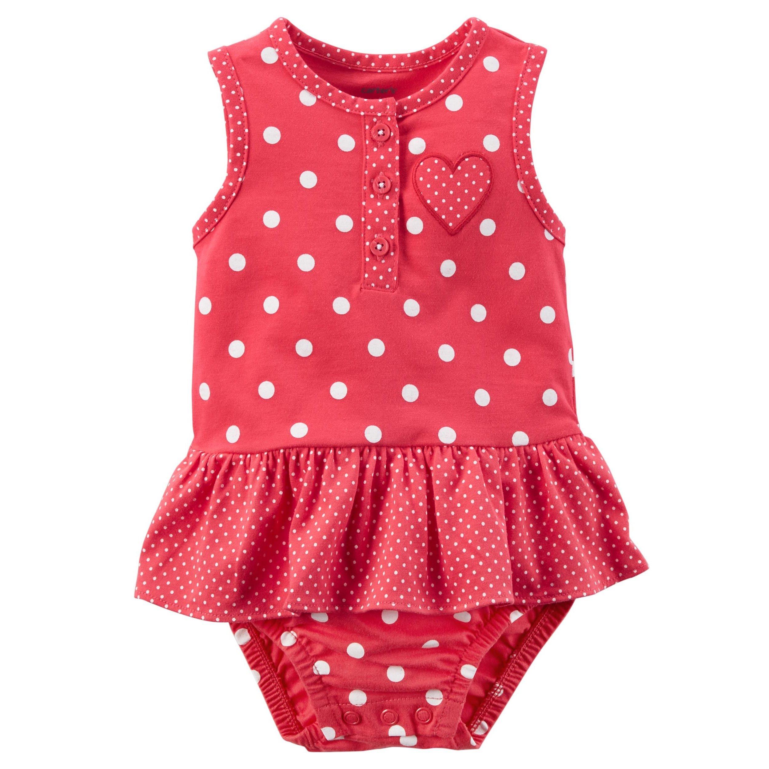Carter's Baby Girls' Polka Dot Heart Sunsuit 3 Months