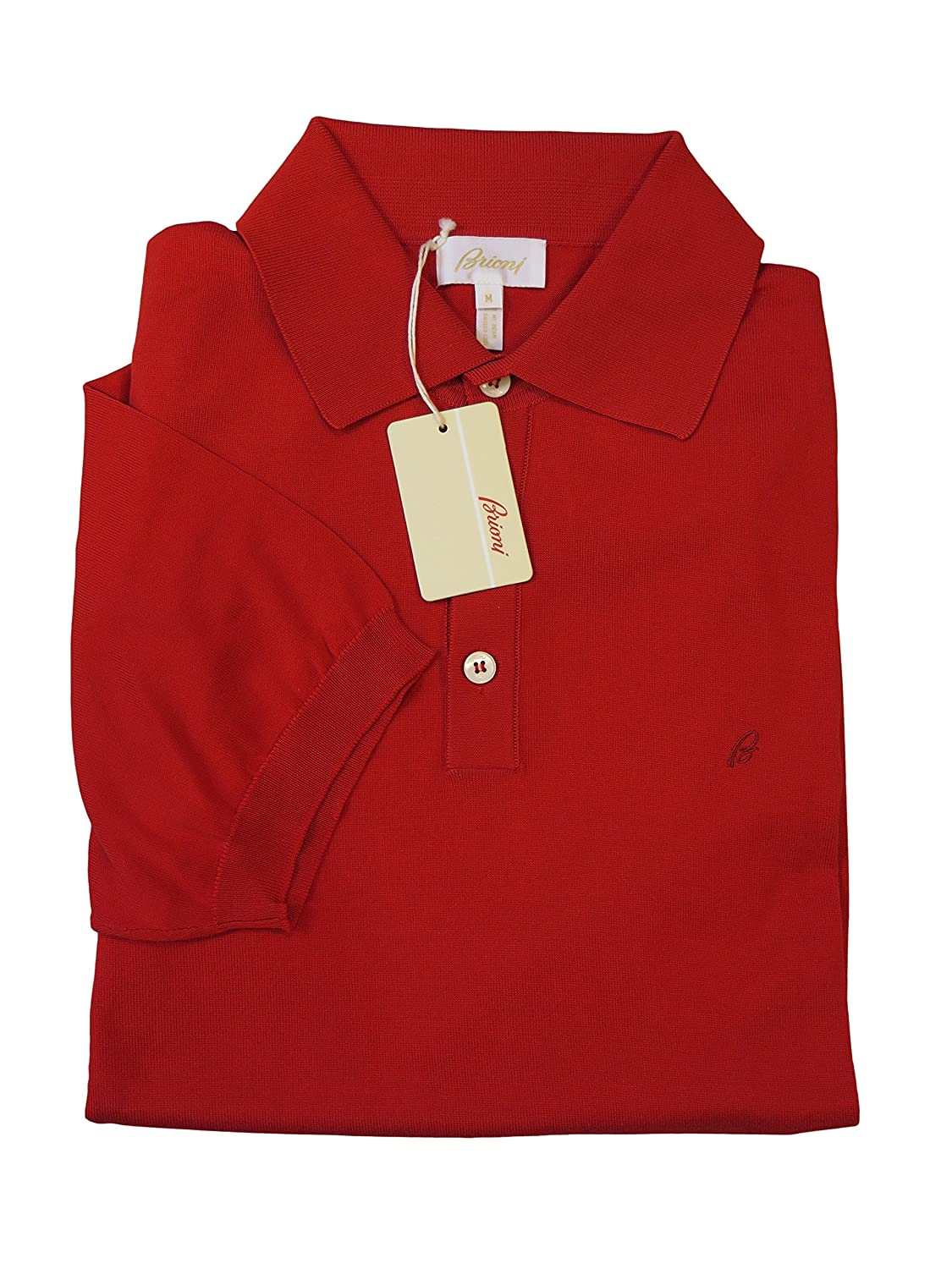 Brioni Red Cotton Short Sleeve Polo Sweater