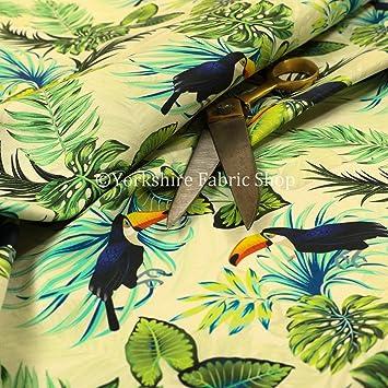 Blue Kingfisher Bird Pink Floral Pattern Velour Velvet Curtain Upholstery Fabric