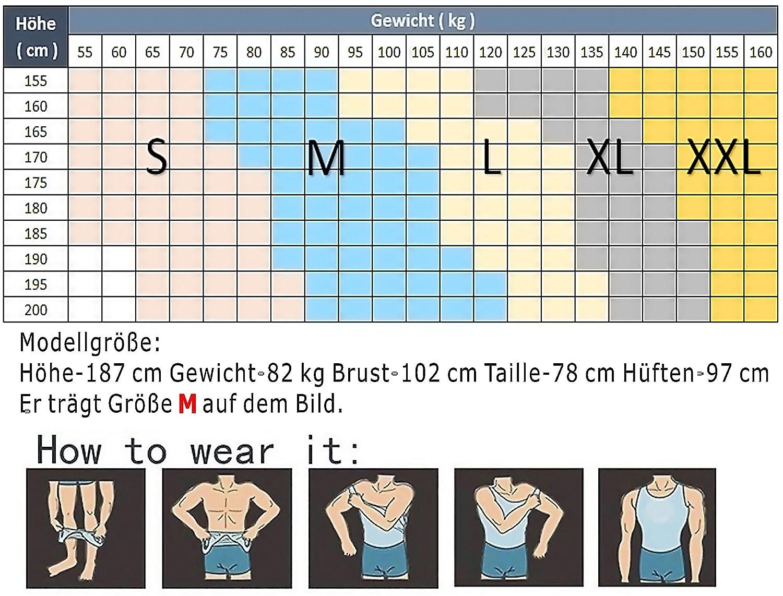 HANERDUN Kompressionsunterw/äsche I Herren Tanktop I figurformendes Unterhemd f/ür M/änner I Sport Fitness I T-Shirt Bodyshaper Bauchweg