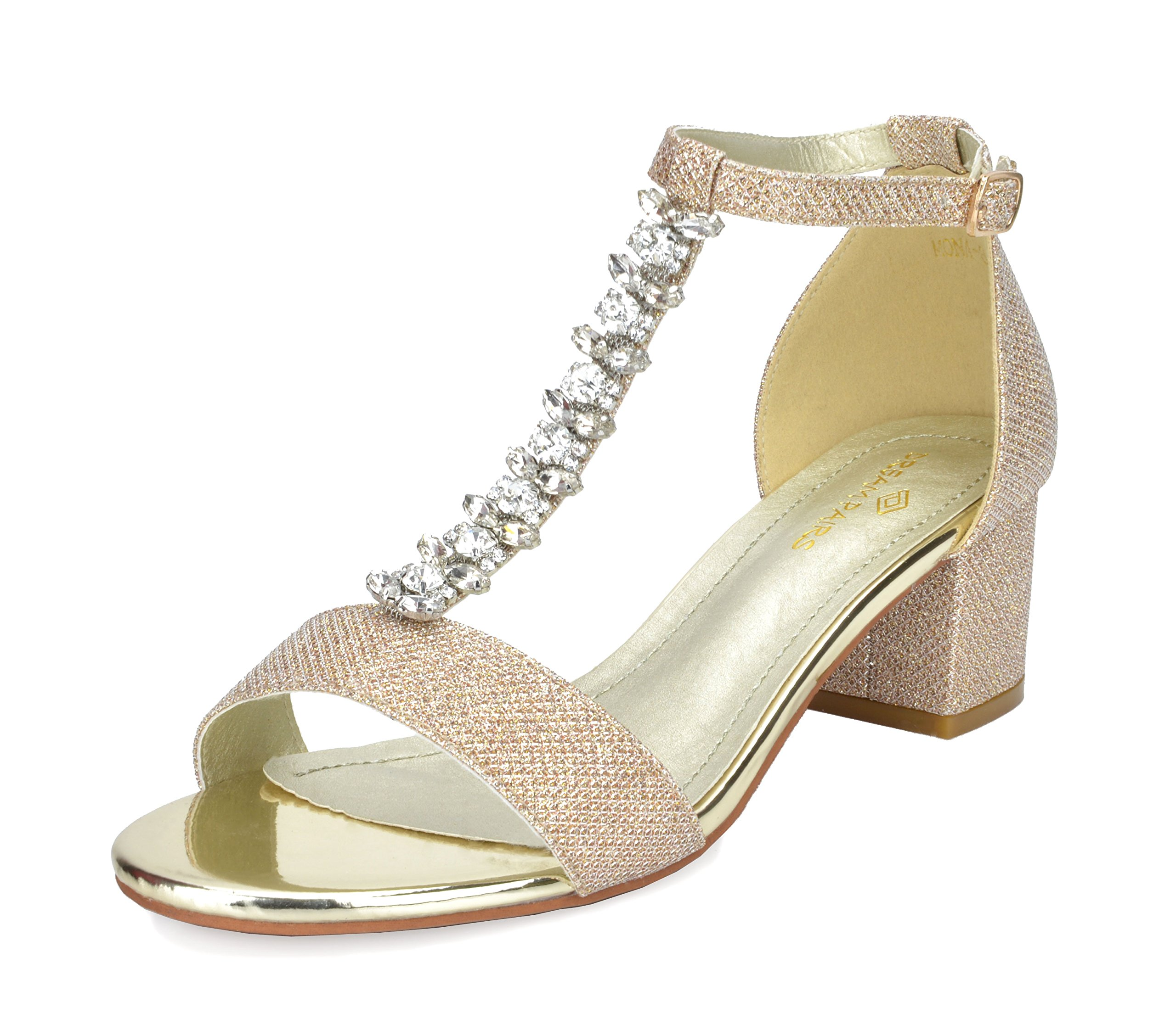 DREAM PAIRS Women's Mona_08 Gold Glitter Fashion Block Heeled Sandals Size 8 B(M) US