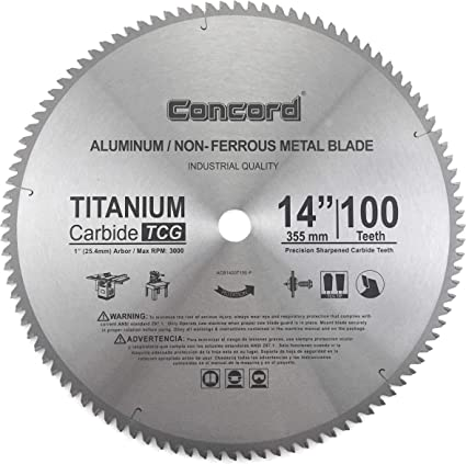 Concord Blades Acb1400t100hp 14 Inch 100 Teeth Tct Non Ferrous Metal Saw Blade Amazon Com