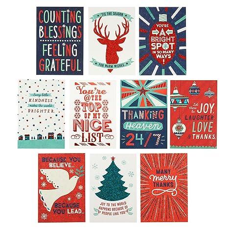 Amazon Com Hallmark Christmas Thank You Cards Assortment 10