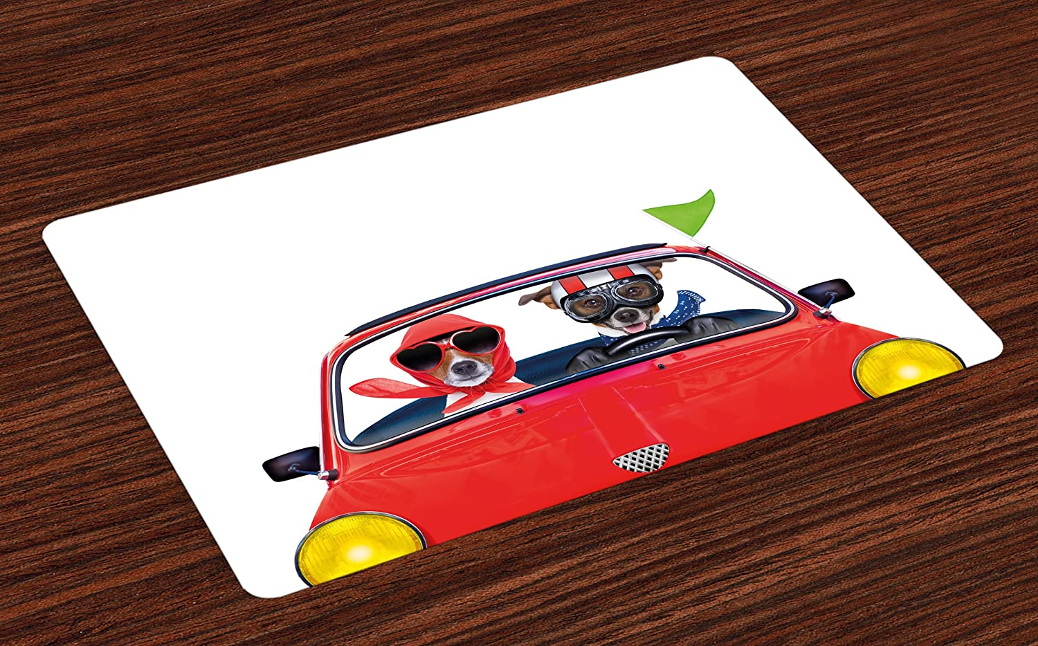 Ambesonne Dog Driver Place Mats Set of 4, Jack Russell Couple Just Married in a Car for Summer Vacation Honeymoon Theme, Washable Fabric Placemats for Dining Room Kitchen Table Decor, Multicolor