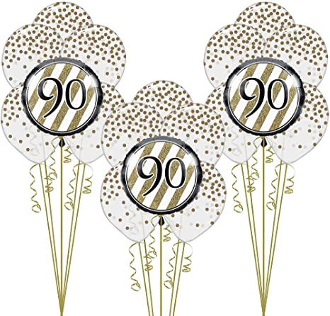 Image Unavailable Not Available For Color Party City White And Gold 90th Happy Birthday Balloon
