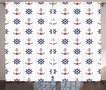 Ambesonne Anchor Curtains Maritime Decor Design Anchors And Ship Wheels On The White Background Print