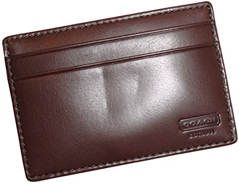 f7874f10dd28ee Image Unavailable. Image not available for. Color: Men's Coach Water Buffalo  Leather Money Clip Card Case Wallet Mahogany