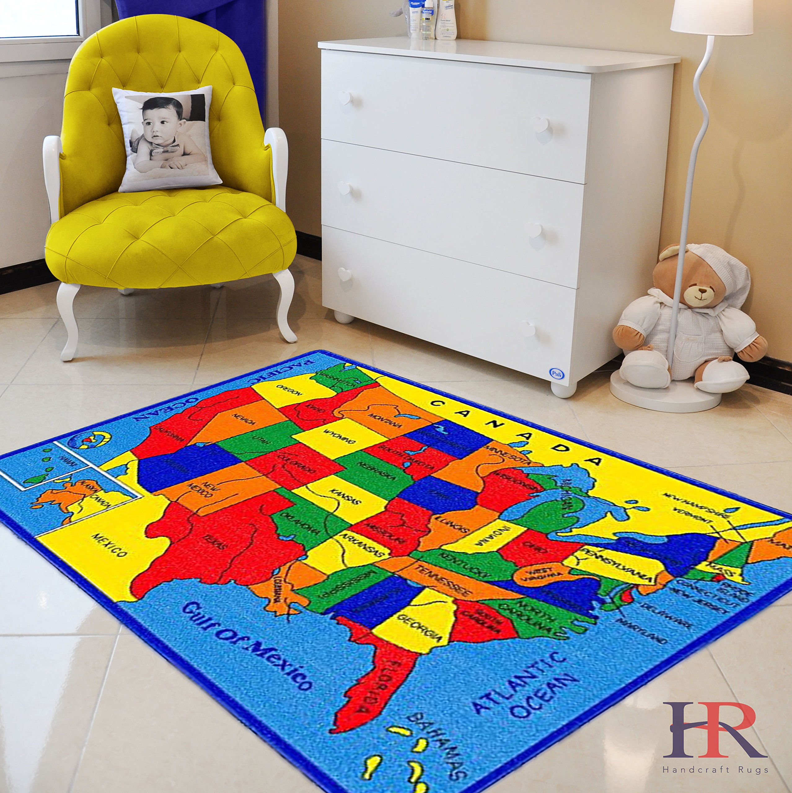 Handcraft Rugs U.S.A Map Non Slip Educational Kids Area Rug 8 ft by 10 ft by HANDCRAFT RUGS
