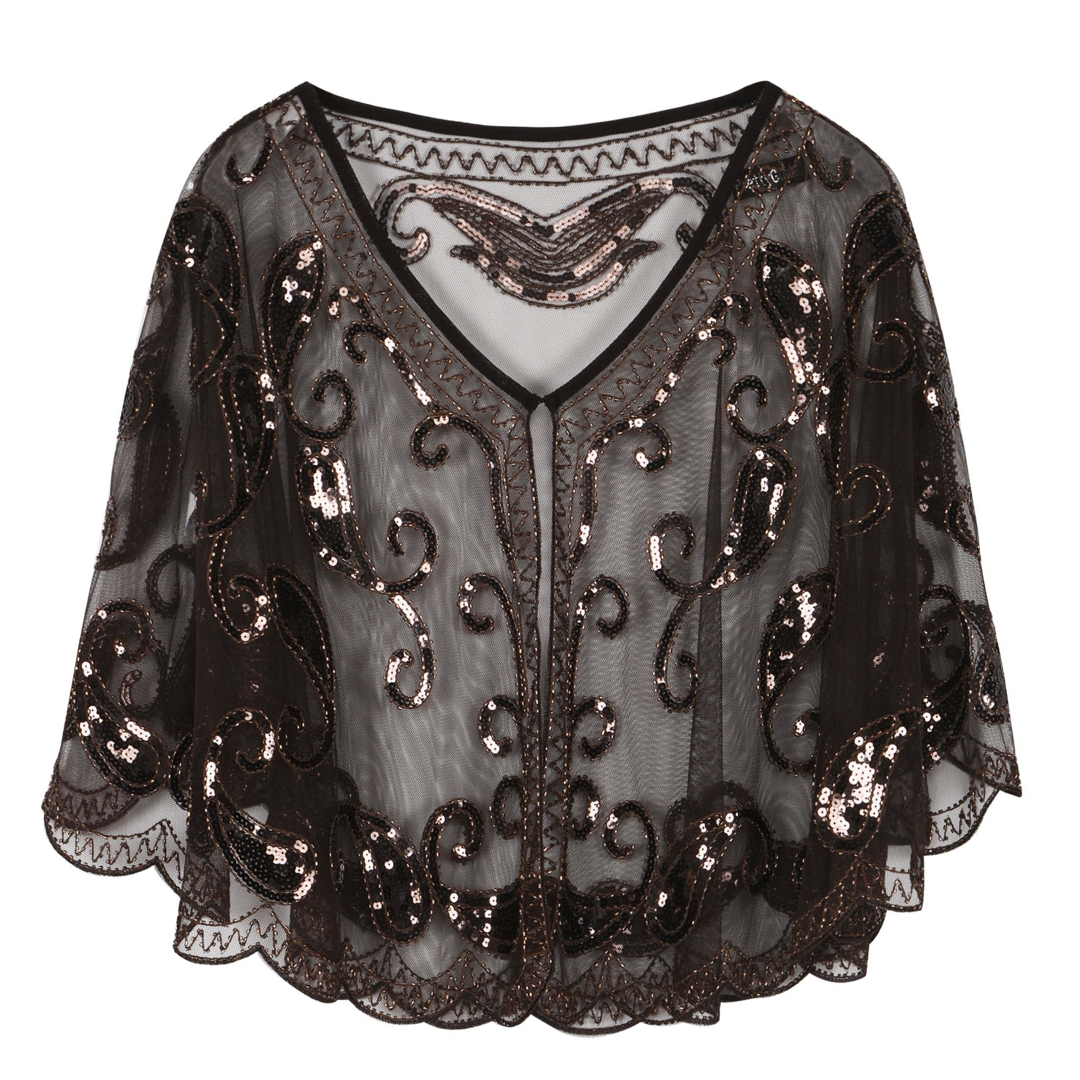 PrettyGuide Women's Evening Cape 1920s Vintage Flapper Cocktail Beaded Shawl Coffee