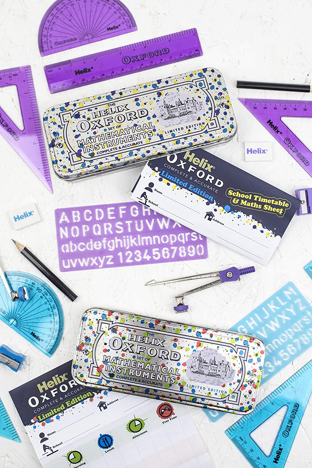 Helix Oxford Splash Bulk Stationery Set Purple