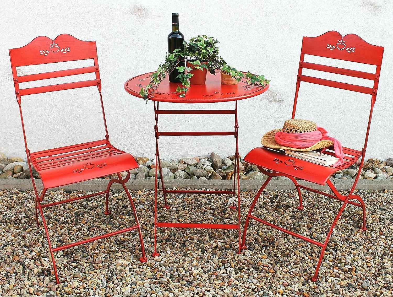 Tisch + 2 Stühle Passion Garnitur Gartenmöbel Sitzgarnitur Metall Rot  Günstig Kaufen
