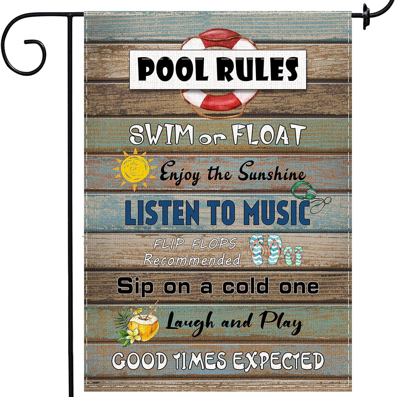 Pool Rules Garden Flag,Vertical Double Sized Swim Or Float, Enjoy The Sunshine Yard Outdoor Decoration 12.5 x 18 Inch swimming Pool Decoration Outdoor,Vertical Small Garden Flag for Beach