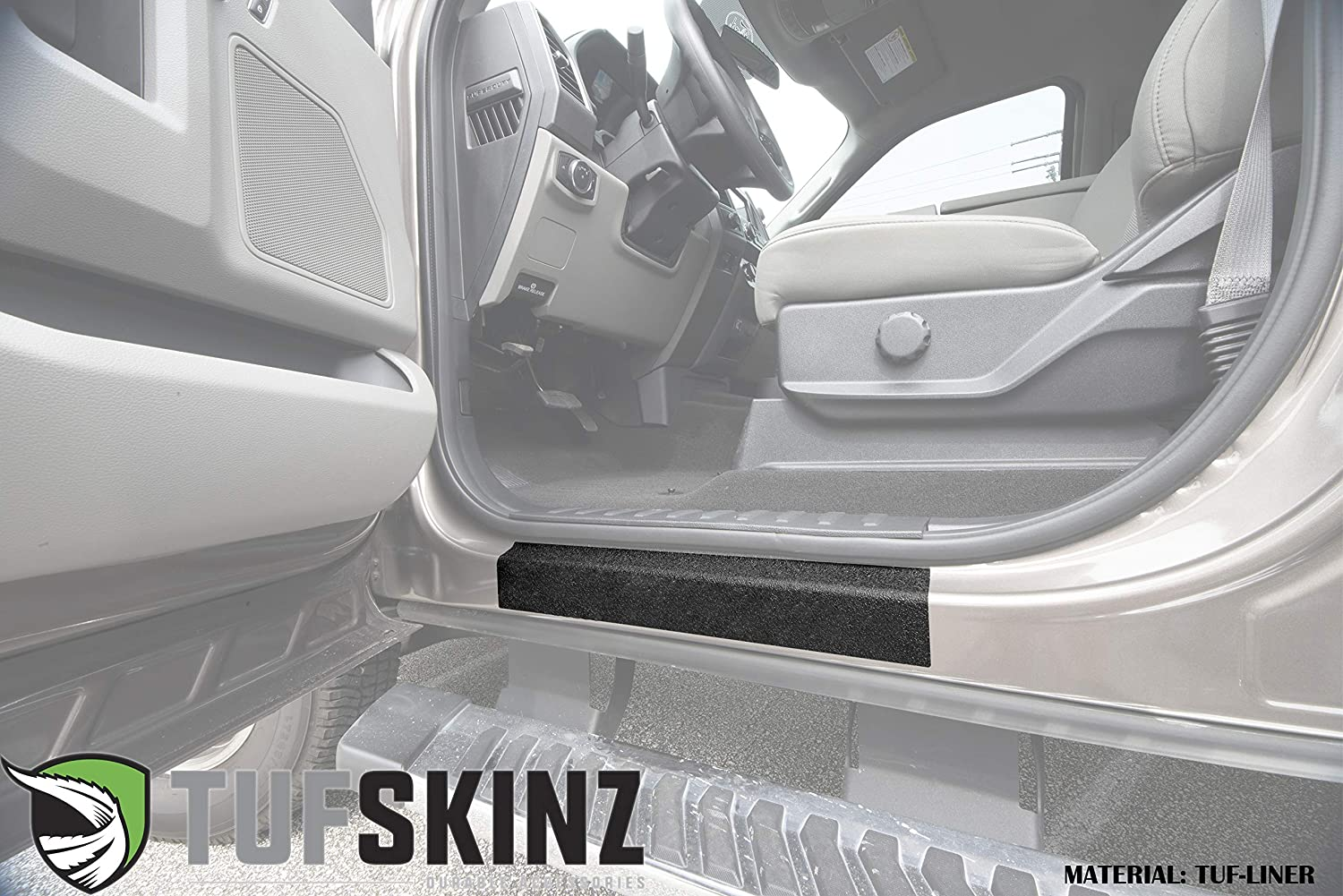 Front Door Sill Protection 2 Piece Kit TufSkinz Fits 2017-Up Ford Super Duty TUF-Liner, Black w//Gray Outline Logo