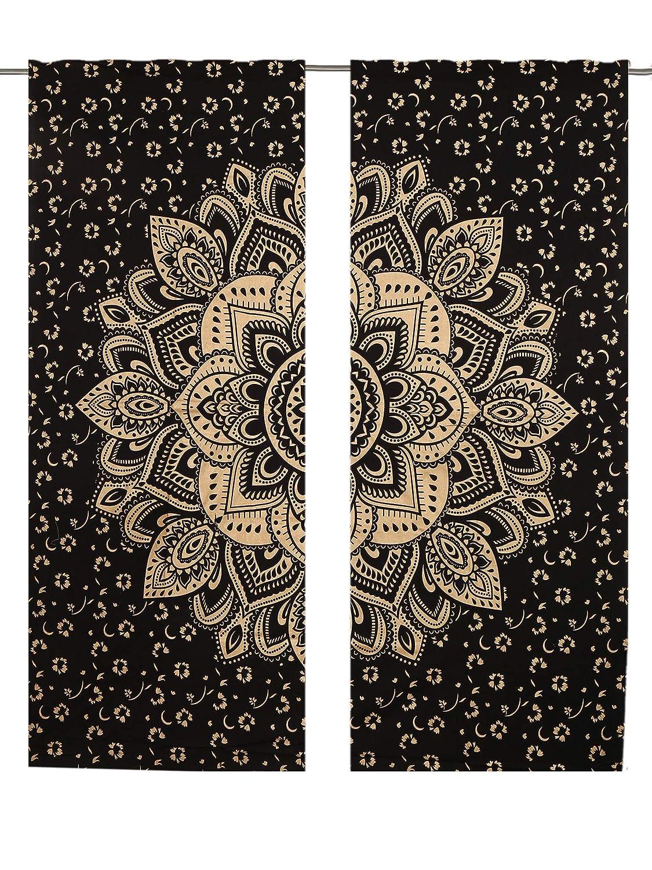 Tenda a pannello nera con Mandala color oro, confezione da 2 tende per finestra di lunghezza 82 cm janki creation