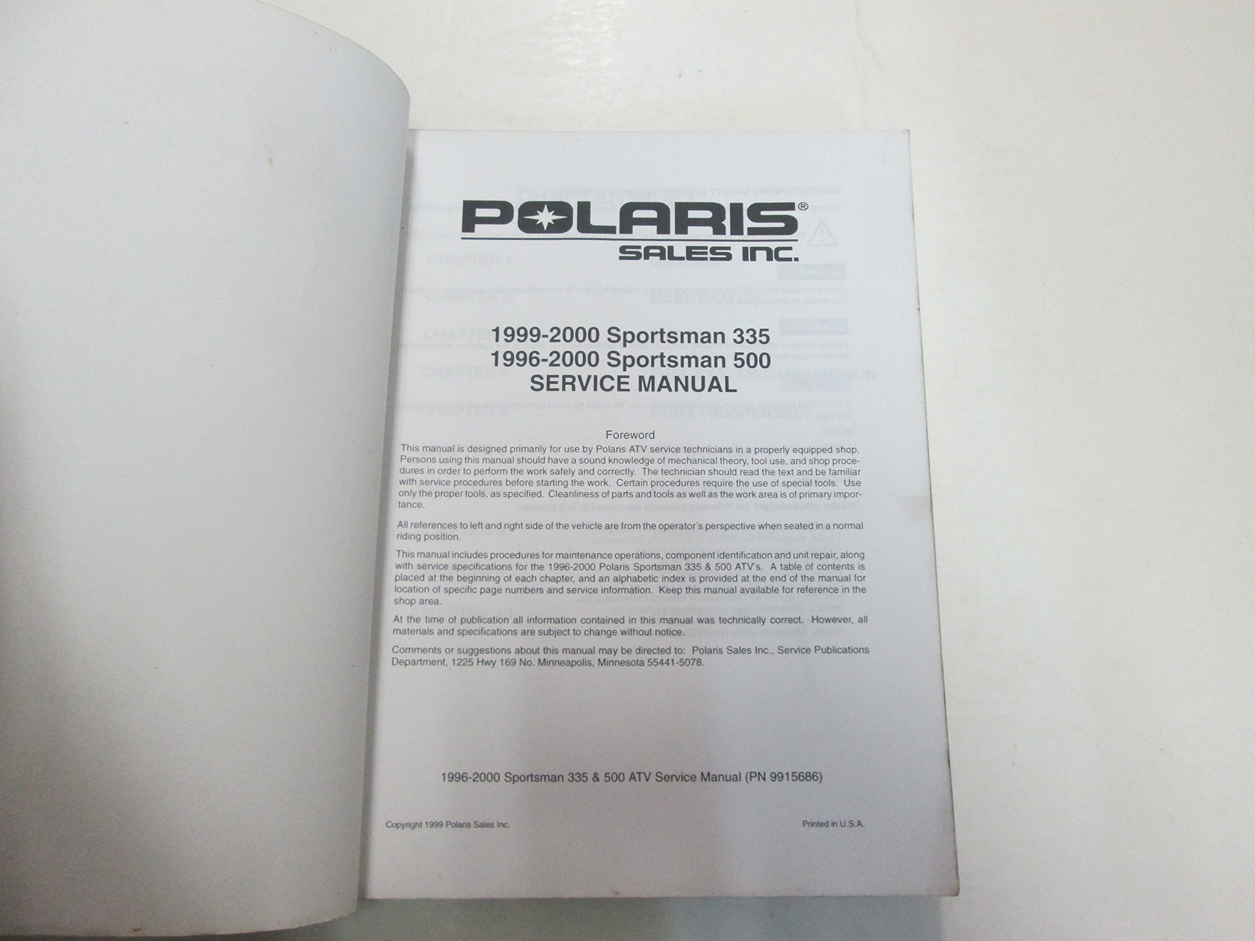 1996 97 98 99 2000 Polaris Sportsman 335 500 Service Repair Manual STAINED  WORN: Polaris: Amazon.com: Books