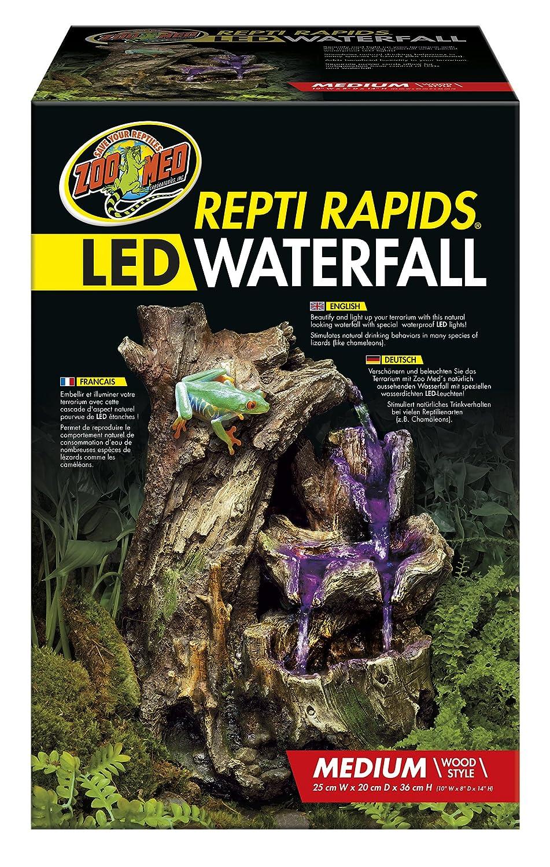Zoo Med Repti Rapids Wasserinstallation für Terrarien, Modell Holzwasserfall mit LED-Beleuchtung