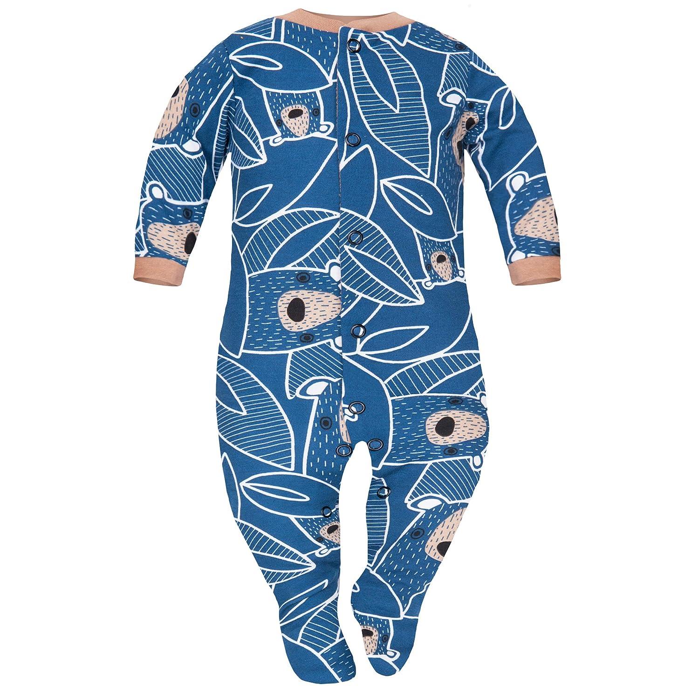 SIBINULO Jungen M/ädchen Schlafstrampler mit ABS 3er pack Marineblau tr/ägt auf den Bl/ättern Beige B/ären Monde 80 9-12 monate