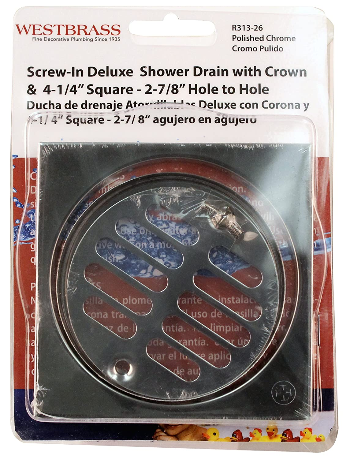 Westbrass R313-26 Shower Strainer Set Grill with Tile Square, Polished Chrome