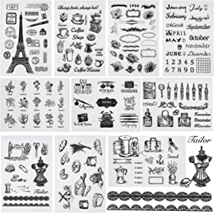 10 Sheets Different Themes Silicone Clear Stamps Plants and Flowers Small Clear Stamps for Card Making Decoration and DIY Scrapbooking