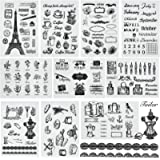 10 Sheets Different Themes Silicone Clear Stamps Plants and Flowers Small Clear Stamps for Card Making Decoration and DIY Scr