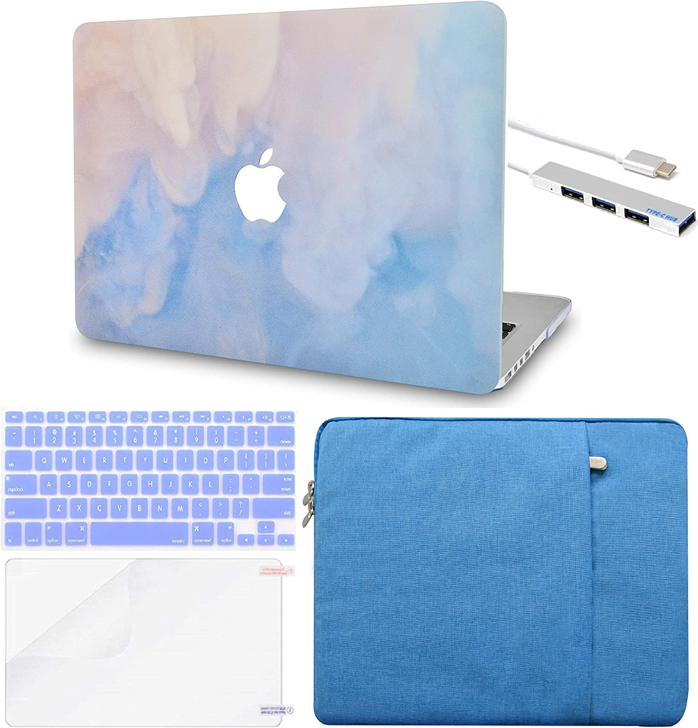 """LuvCase 5 in 1 LaptopCase forMacBookPro 13"""" (2016-2020) w/wo Touch Bar A2159/A1989/A1706/A1708 HardShellCover, Sleeve, USB Hub 3.0, Keyboard Cover & Screen Protector (Blue Mist)"""