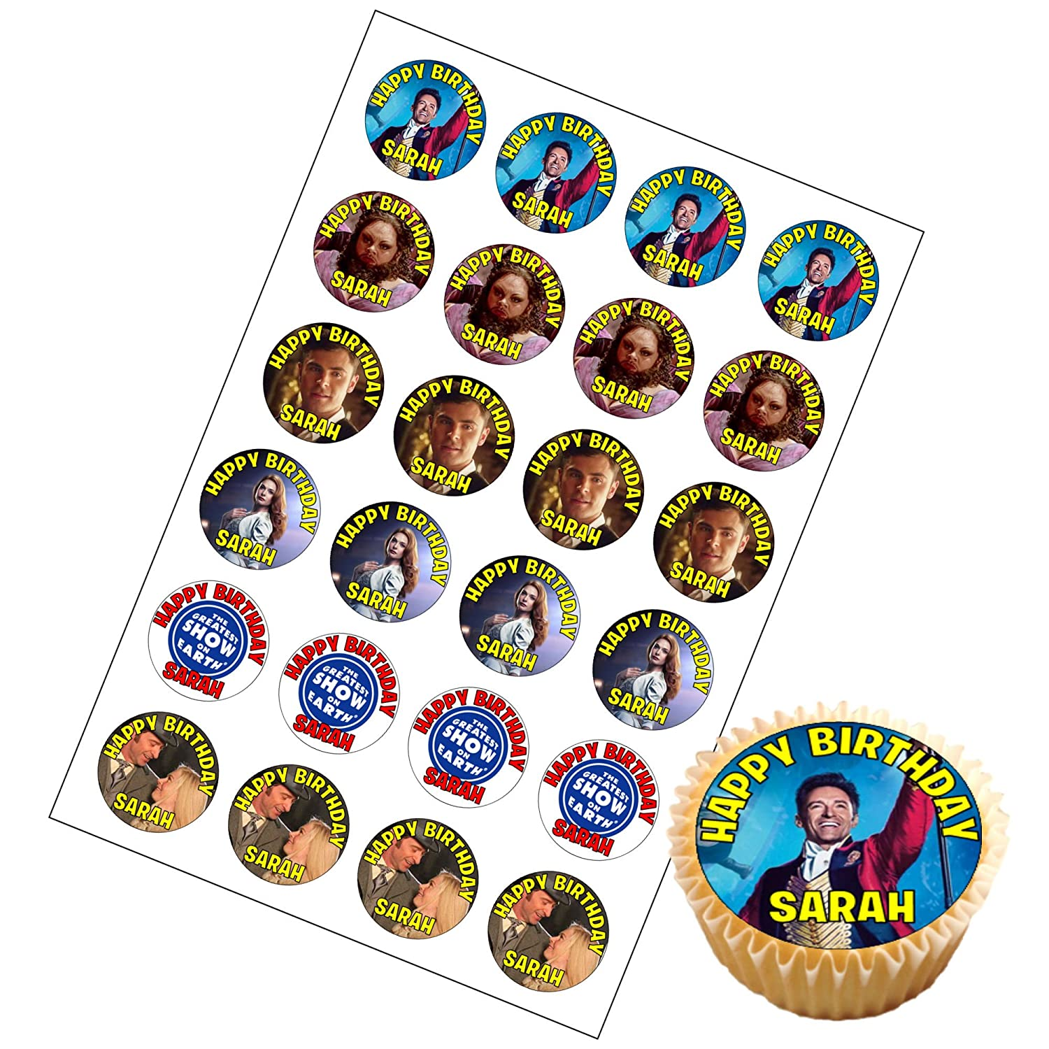 """A 7.5/"""" Round The Greatest Showman Personalised Cake Topper ICING"""