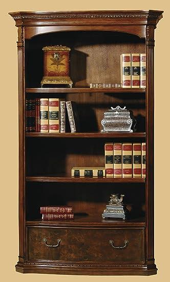 Hekman Furniture Executive Bookcase Center In Old World Walnut Burl Finish    7 9164