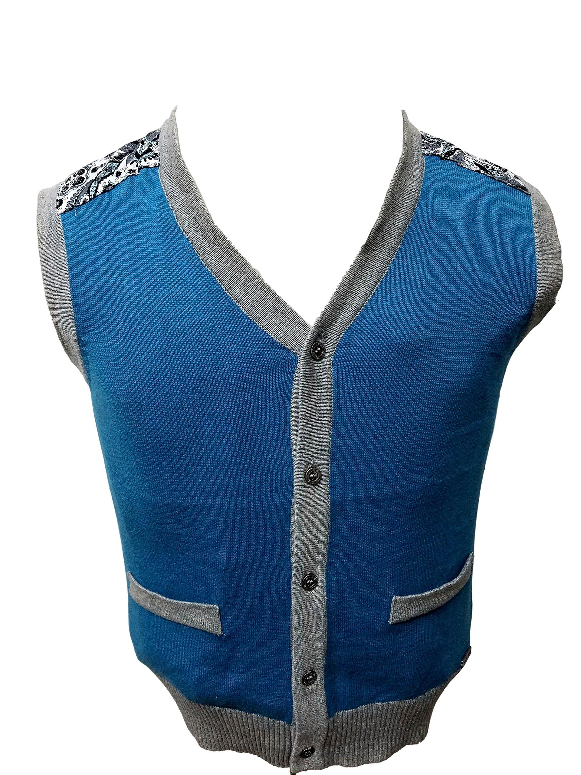 Vest Sweater 100% Cotton 2383 (2, Teal Blue)