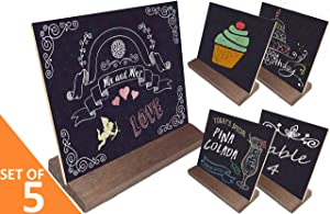 "Mini Chalkboard Signs Double-Sided incl. 6 Colored Chalks + Eraser + BONUS E-BOOK!! Farmhouse Rustic Decor, Wedding Sign, Bar, Baby Shower, Restaurant, Cafe, Buffet Food Labels, Kitchen 5""x6"" Set of 5"