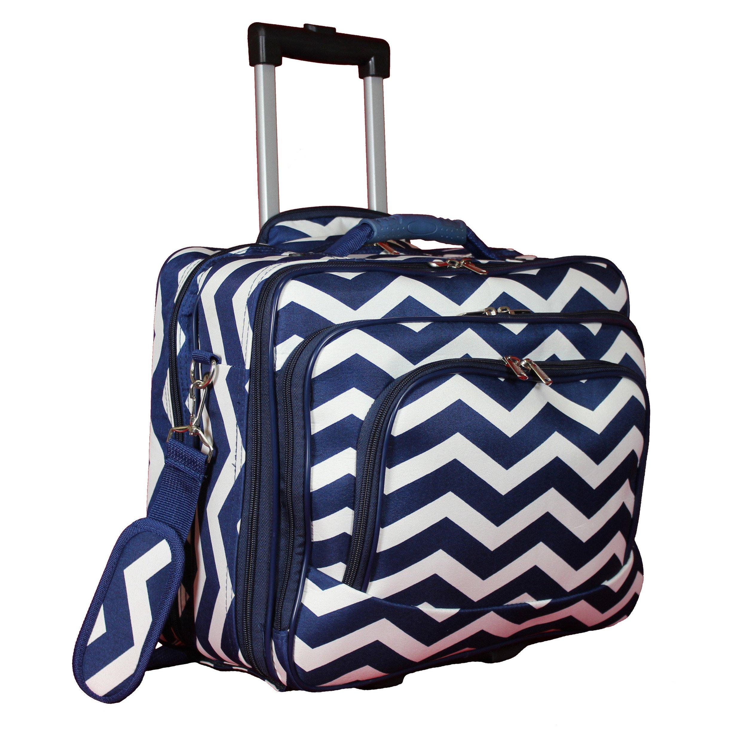 World Traveler Women's Fashion Print Rolling 17'' Case Laptop Bag, Navy White Chevron, One Size
