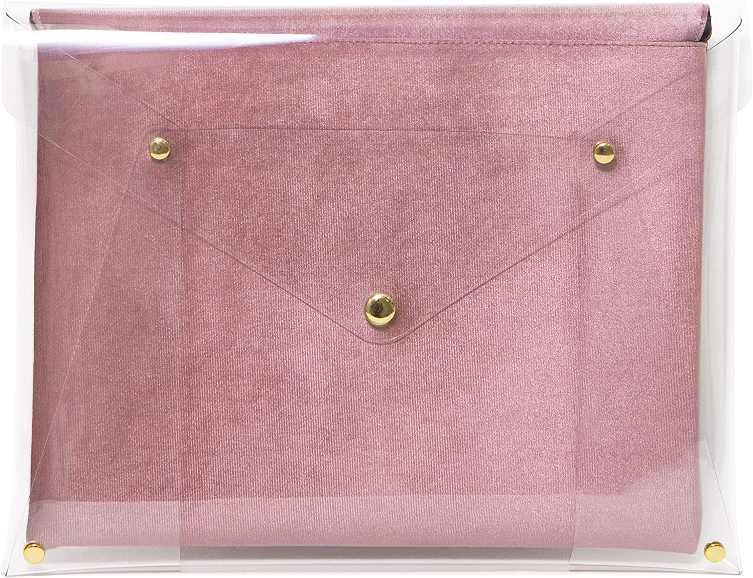 "Sonix PVC Rose Velvet Laptop Clutch, Padded Envelope Case for MacBook (13"") - Clear Pink Rose"