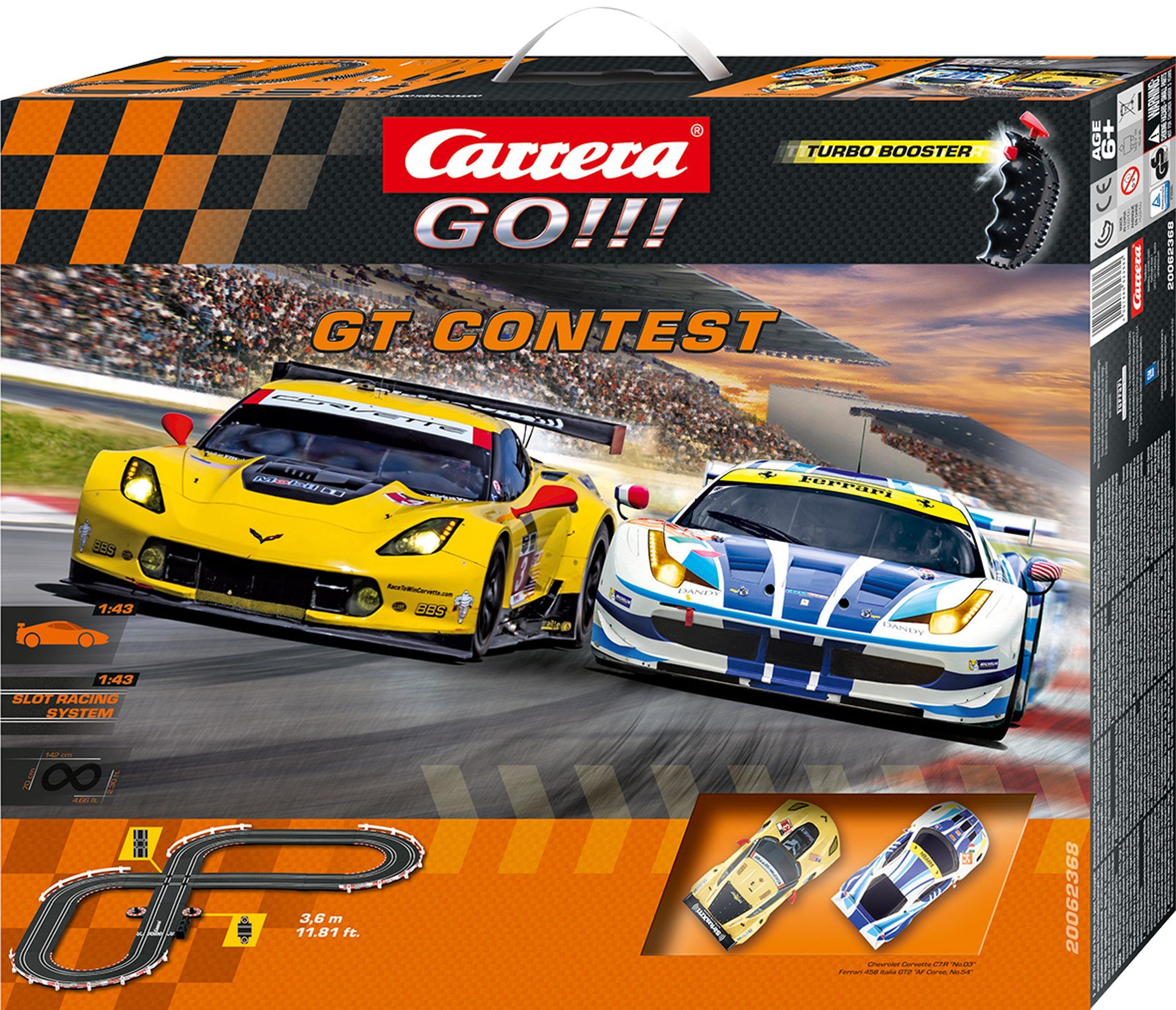 Carrera GO!!! GT Contest 1:43 Scale Electric Powered Slot Car Race Track Set - Corvette vs Ferrari by Carrera (Image #1)