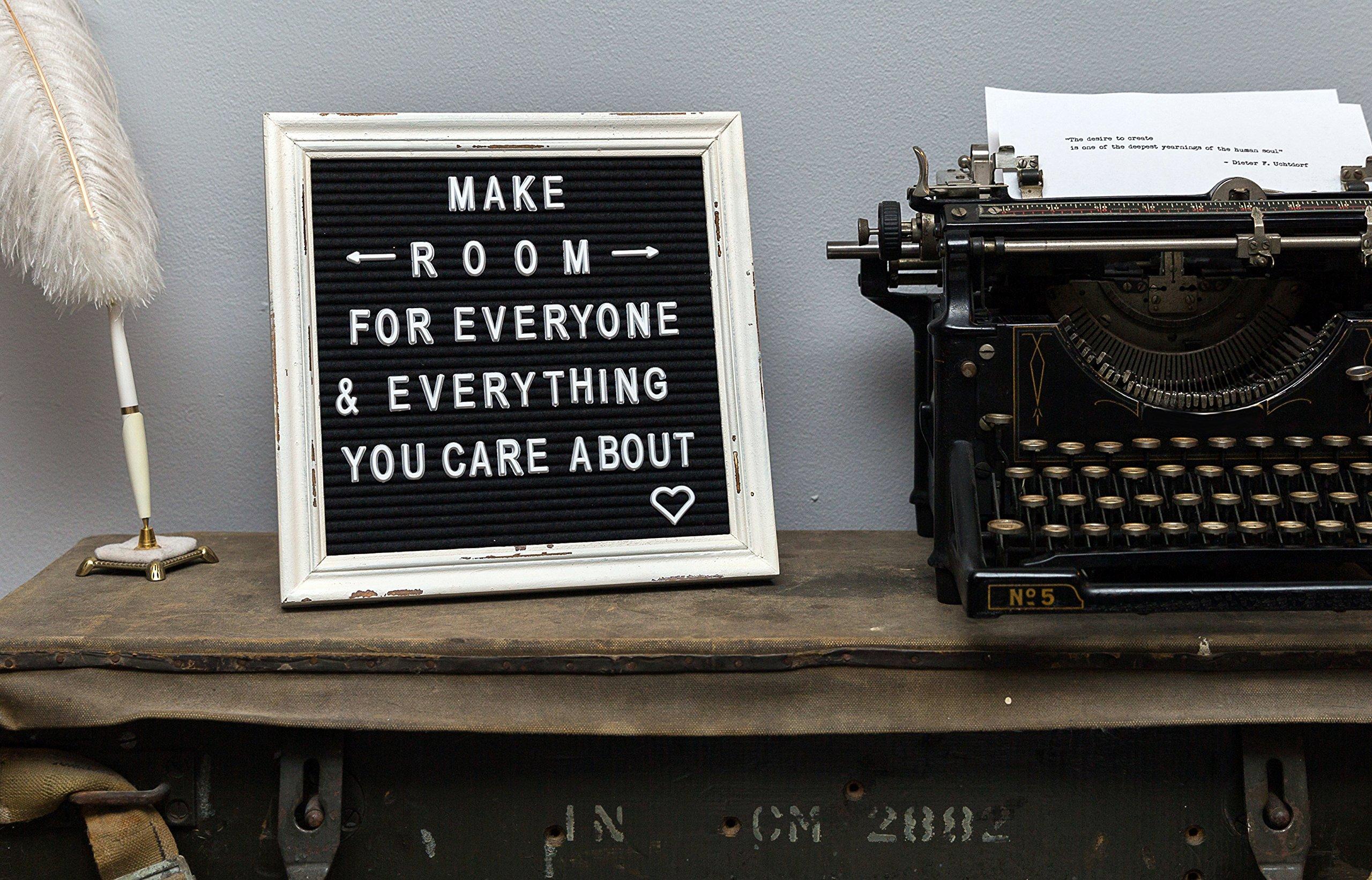 Black Felt Letter Board with Rustic White Wood Farmhouse