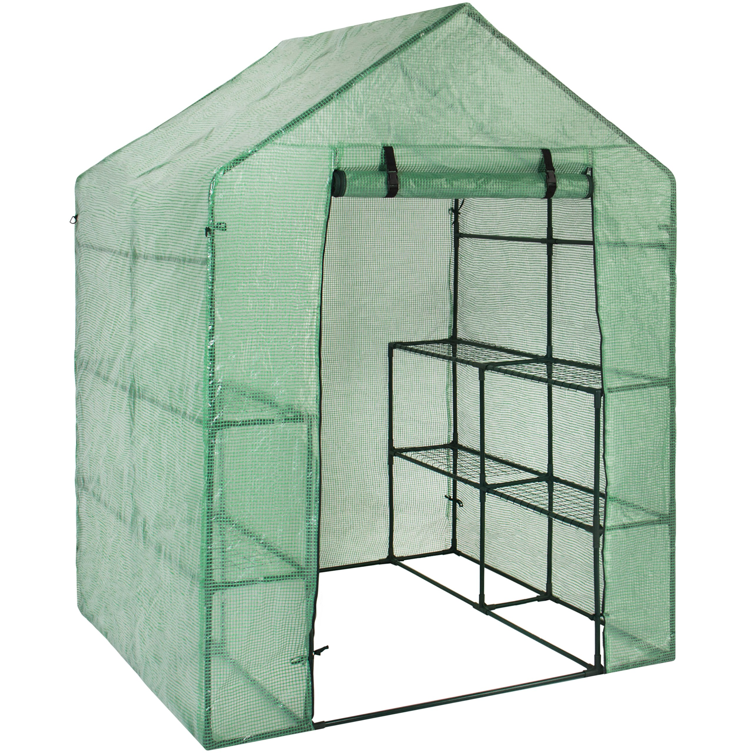 Best Choice Products 3-Tier 8-Shelf Portable Outdoor Mini Garden Walk-In Greenhouse, 57.5'' L x 56'' W x 76'' H - Green