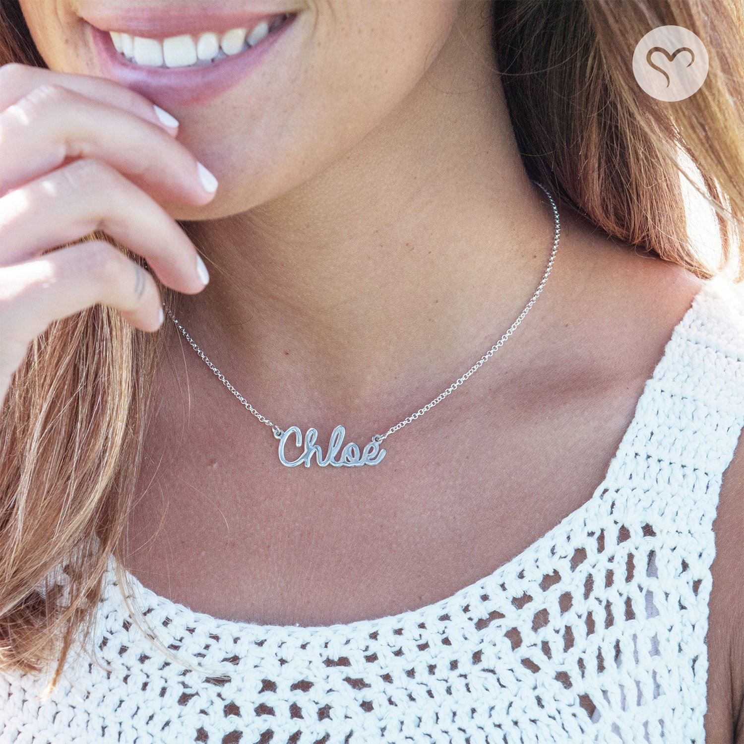 Amazoncom Personalized Name Necklace Cursive Font Sterling Silver