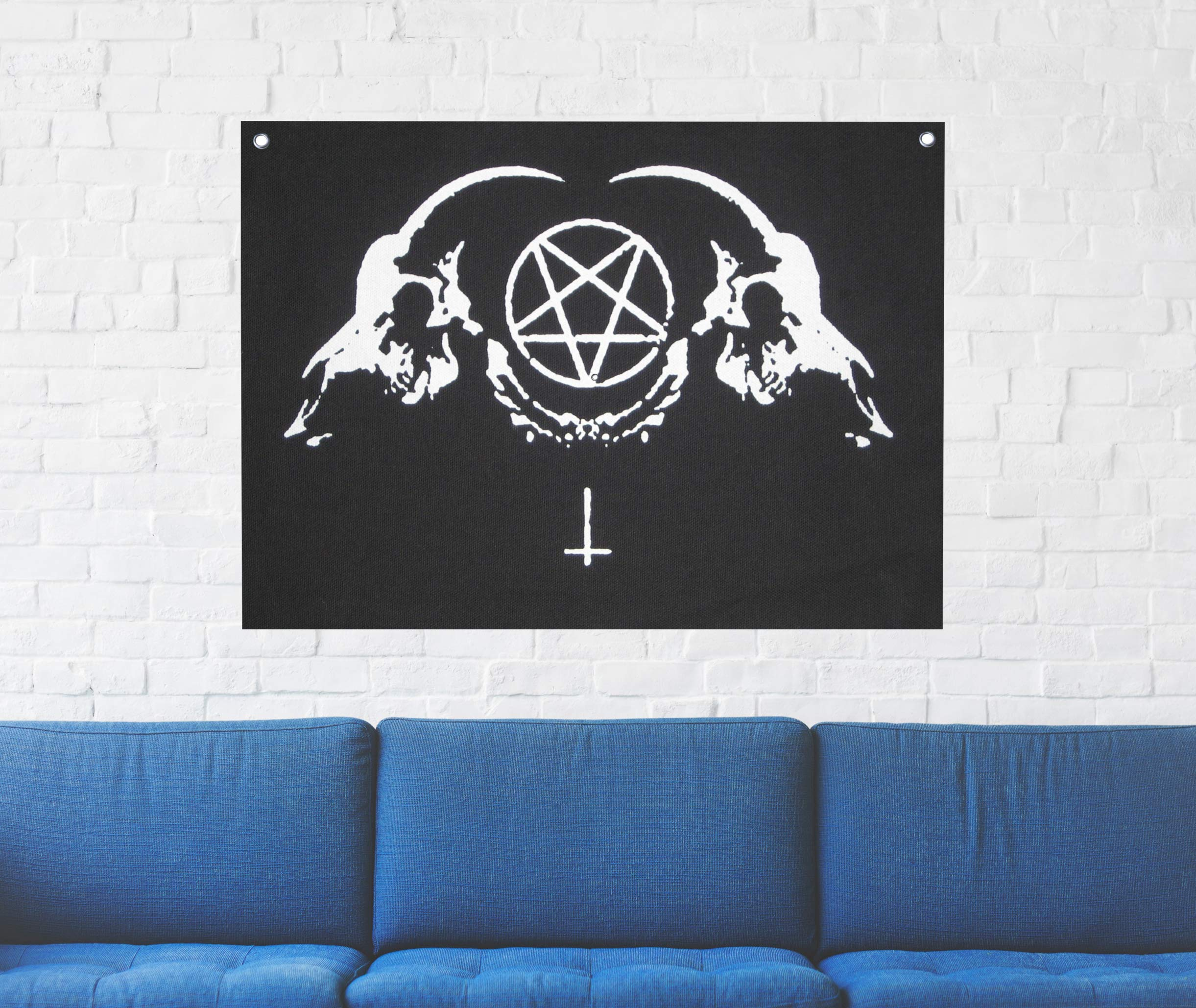 Goat Skull Wall Tapestry - Sigil of Lucifer Pentagram Demonic Devil Dragon Demon Evil Mendes Goat's Head Gothic Metal Occult Punk Satan Satanic Skeleton Voodoo Wicca Baphomet Leviathan Cross Inverted