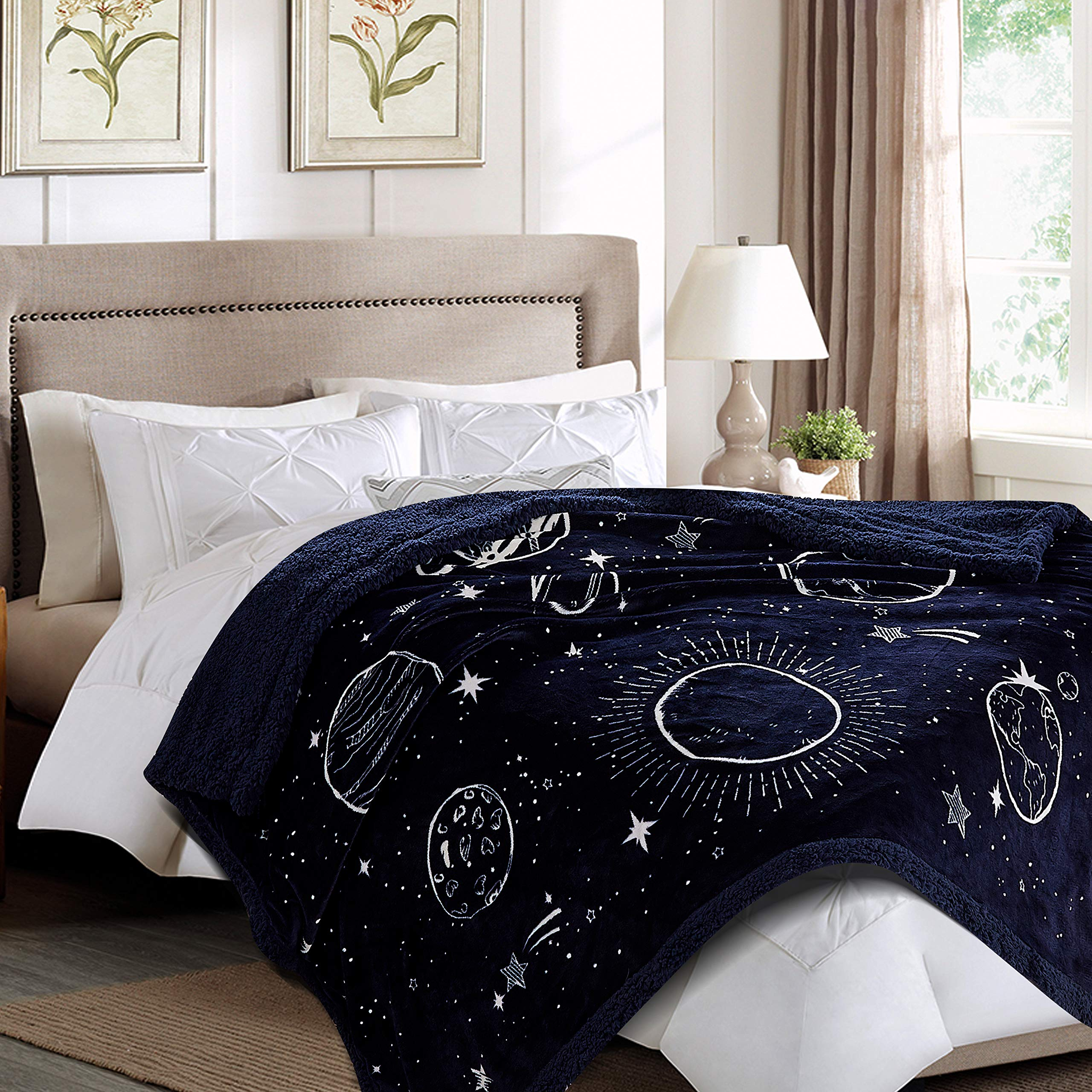 Chanasya Super Soft Solar System Galaxy Star Space Print Throw Blanket| Featuring All Nine Planets Orbiting The Sun Including Pluto Dark Navy Charcoal Reversible Blanket for Bed Couch Chair -DarkNavy by Chanasya (Image #3)