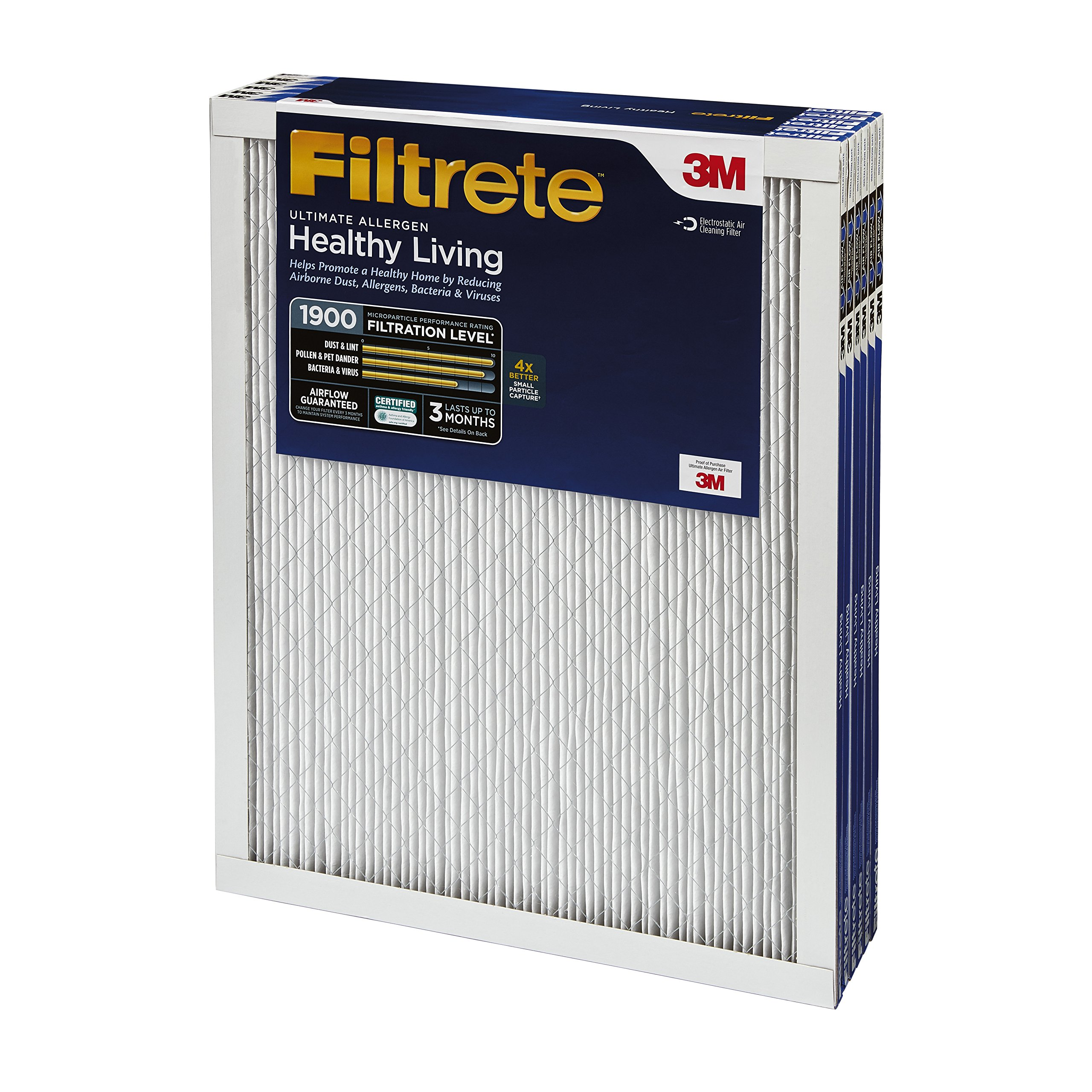 Filtrete MPR 1900 24 x 24 x 1 Healthy Living Ultimate Allergen Reduction AC Furnace Air Filter, Attracts Fine Inhalable Particles, Guaranteed Airflow up to 90 days, 6-Pack by Filtrete (Image #3)