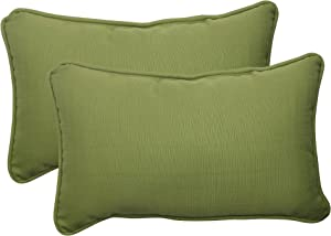 Pillow Perfect Outdoor Forsyth Corded Rectangular Throw Pillow, Green, Set of 2