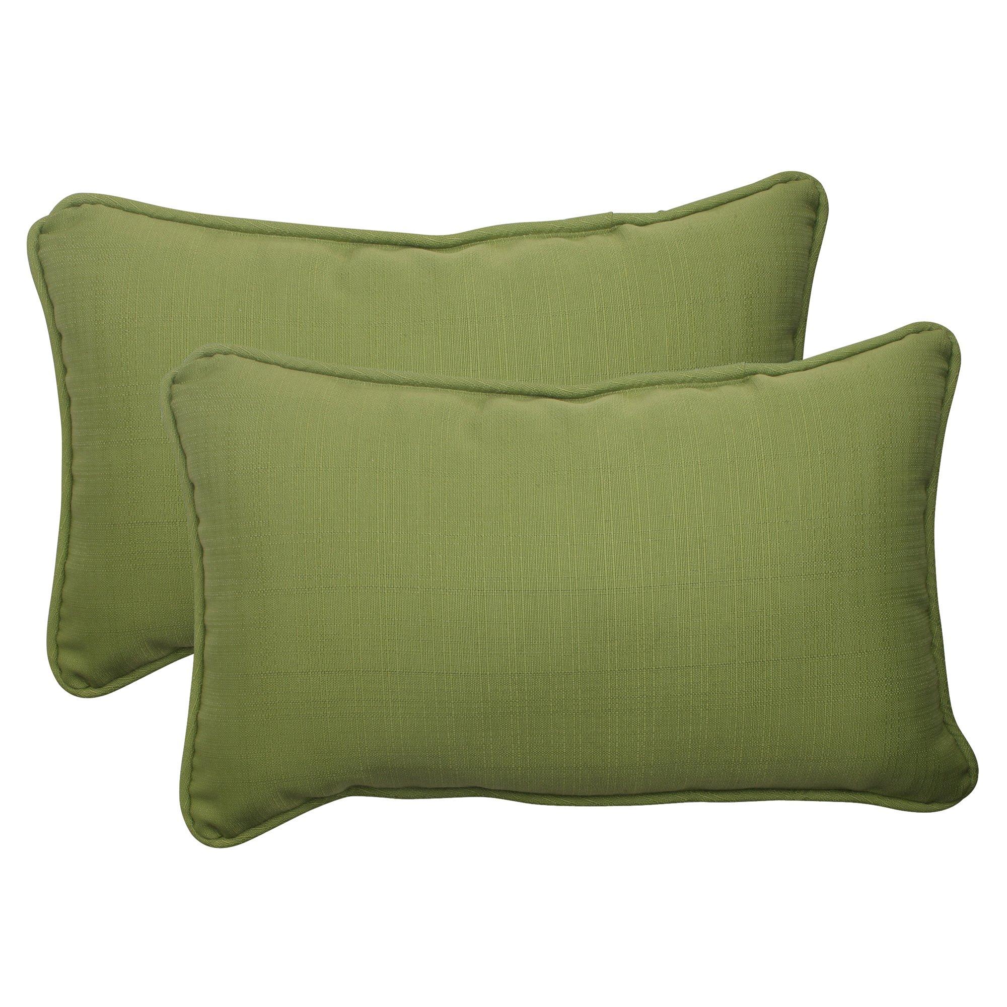Pillow Perfect Outdoor Forsyth Corded Rectangular Throw Pillow, Green, Set of 2